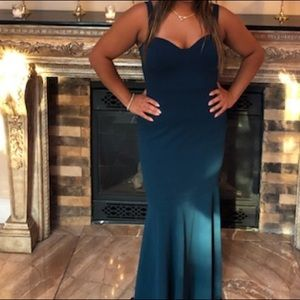 Teal long gown mermaid style bodycon